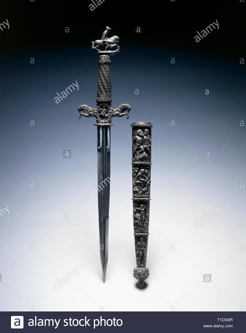 Dagger, 1600s (1500s blade). Switzerland and/or France, 17th century (16th century blade). Steel and wire; chiseled quillions and pommel; overall: 44.3 cm (17 7/16 in.); quillions: 9.2 cm (3 5/8 in.). - Stock Image