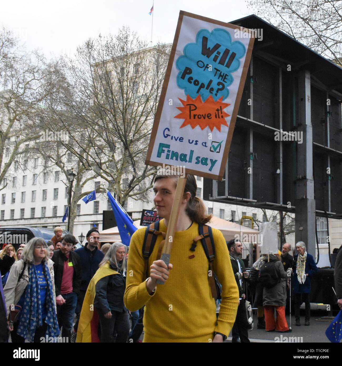 London/UK. March 23 2019. Thousands march to Parliament Square to demand a People's Vote. Credit: Katherine Da Silva/ Alamy news - Stock Image