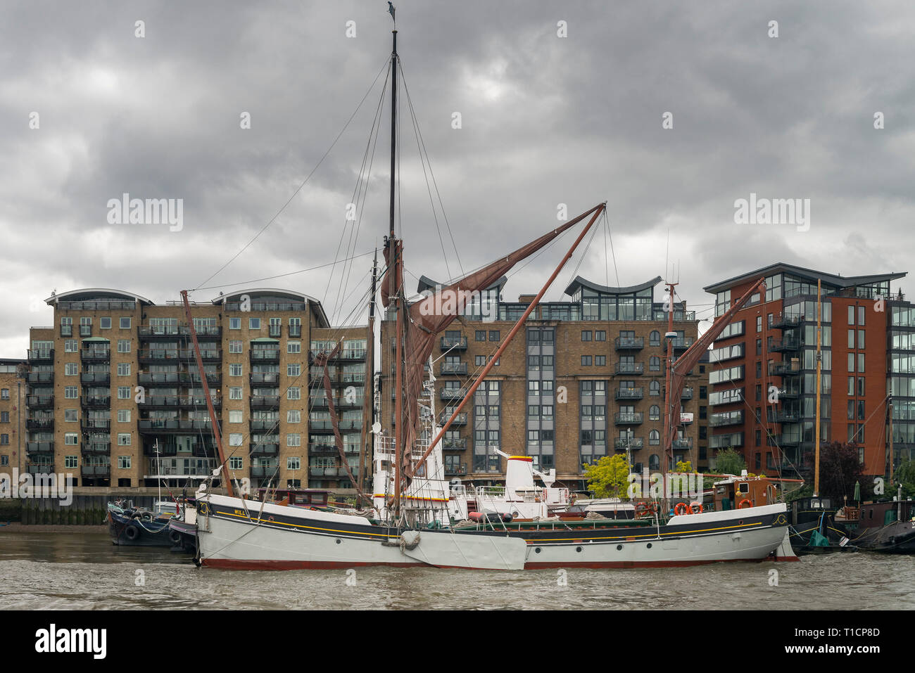 WILL the Historic Barge moored on the Thames - Stock Image
