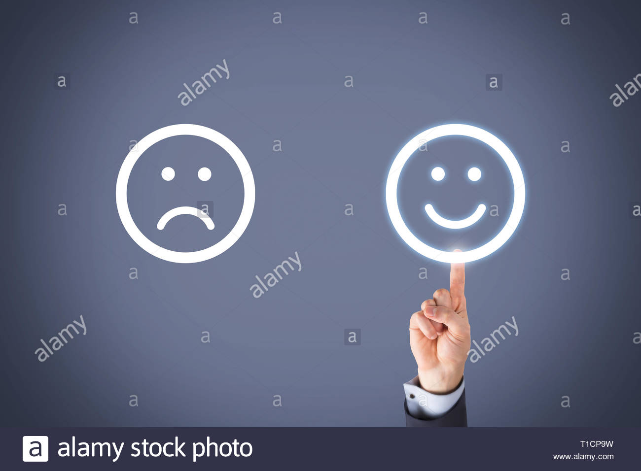 Unhappy and Happy Smileys on Visual Screen - Stock Image