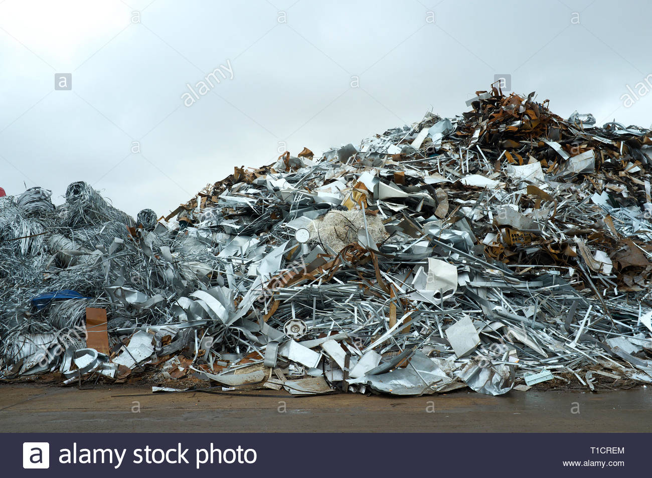 Pile of scrap metal in yard, for recycling. Cardiff, UK. Stock Photo