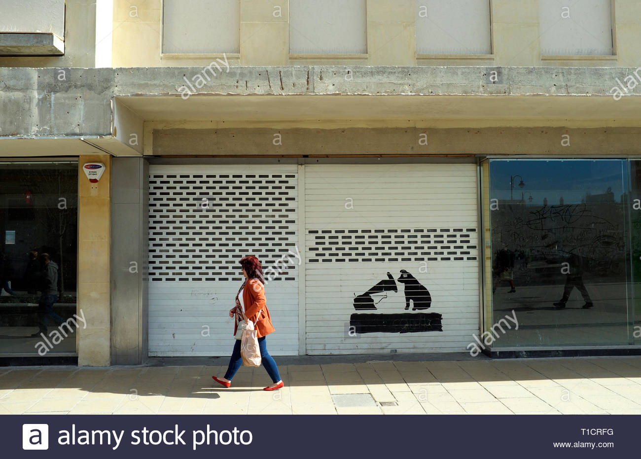 Former retail store of HMV, music retailer. High Street, Cheltenham, Gloucestershire, UK. Stock Photo