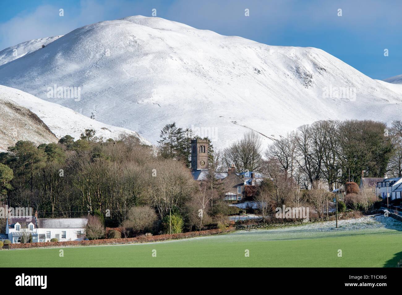 Durisdeer village and Hills in winter South lanarkshire, Scottish borders, Scotland - Stock Image