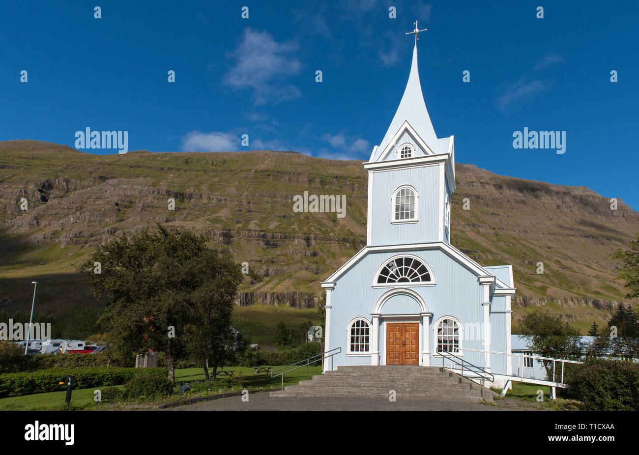SEYDISFJORDUR, ICELAND, the blue church of Seydisfjordur, Iceland. - Stock Image
