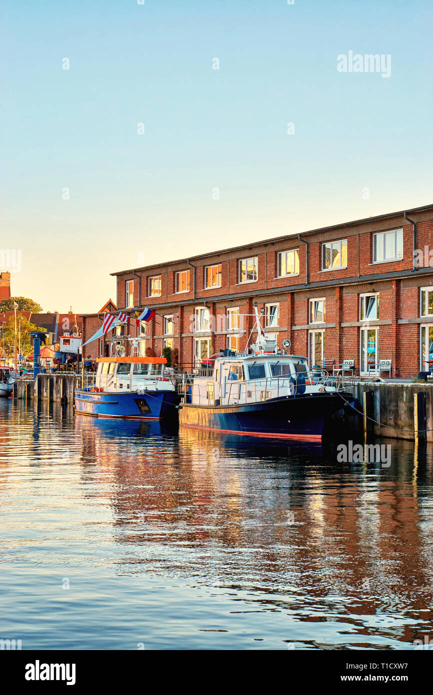 Old harbor of Wismar with fishing boats. Baltic Sea in Mecklenburg Vorpommern. Germany - Stock Image