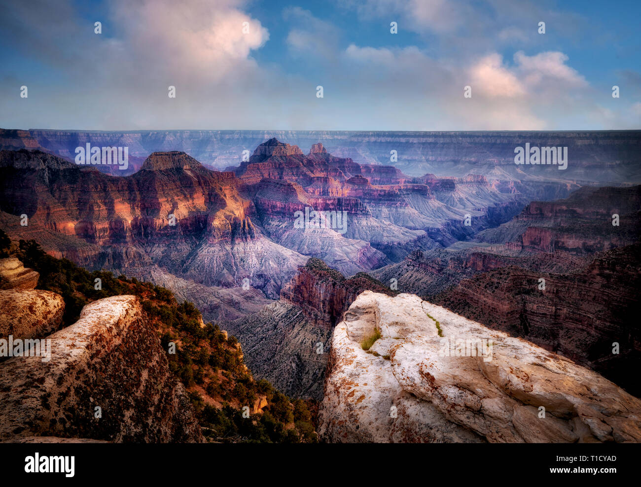View of Grand Canyon from Bright Angel Point. North Rim of Grand Canyon National Park, Arizona - Stock Image