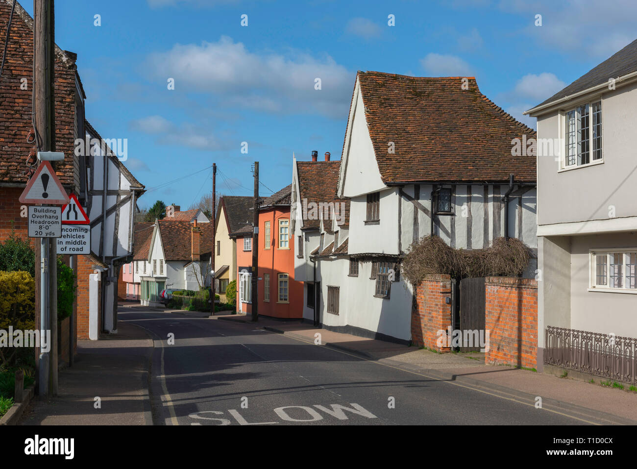 Bures Suffolk UK, view along the High Street in Bures village on the Essex Suffolk border, Babergh district, Suffolk, UK. - Stock Image