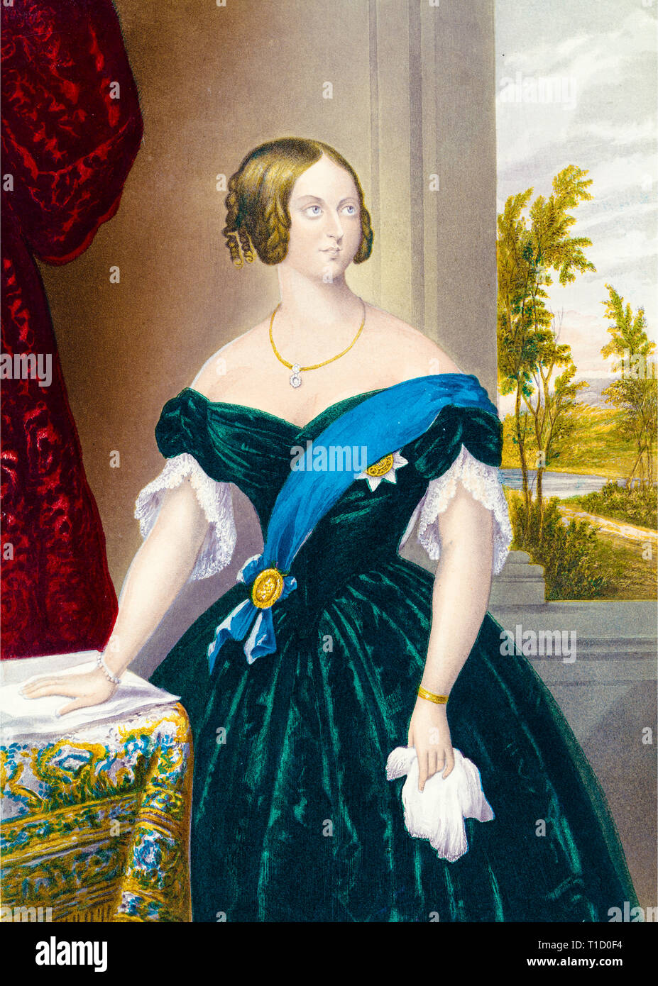 Queen Victoria portrait, colour woodcut print, hand on table, after George Baxter, c. 1860 - Stock Image