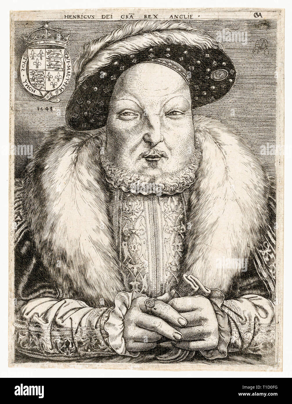 King Henry VIII, portrait, c . 1547 by Cornelis Massys RKM - Portrait of Henry VIII wearing luxurious clothing decorated with Moresque patterns. - Stock Image