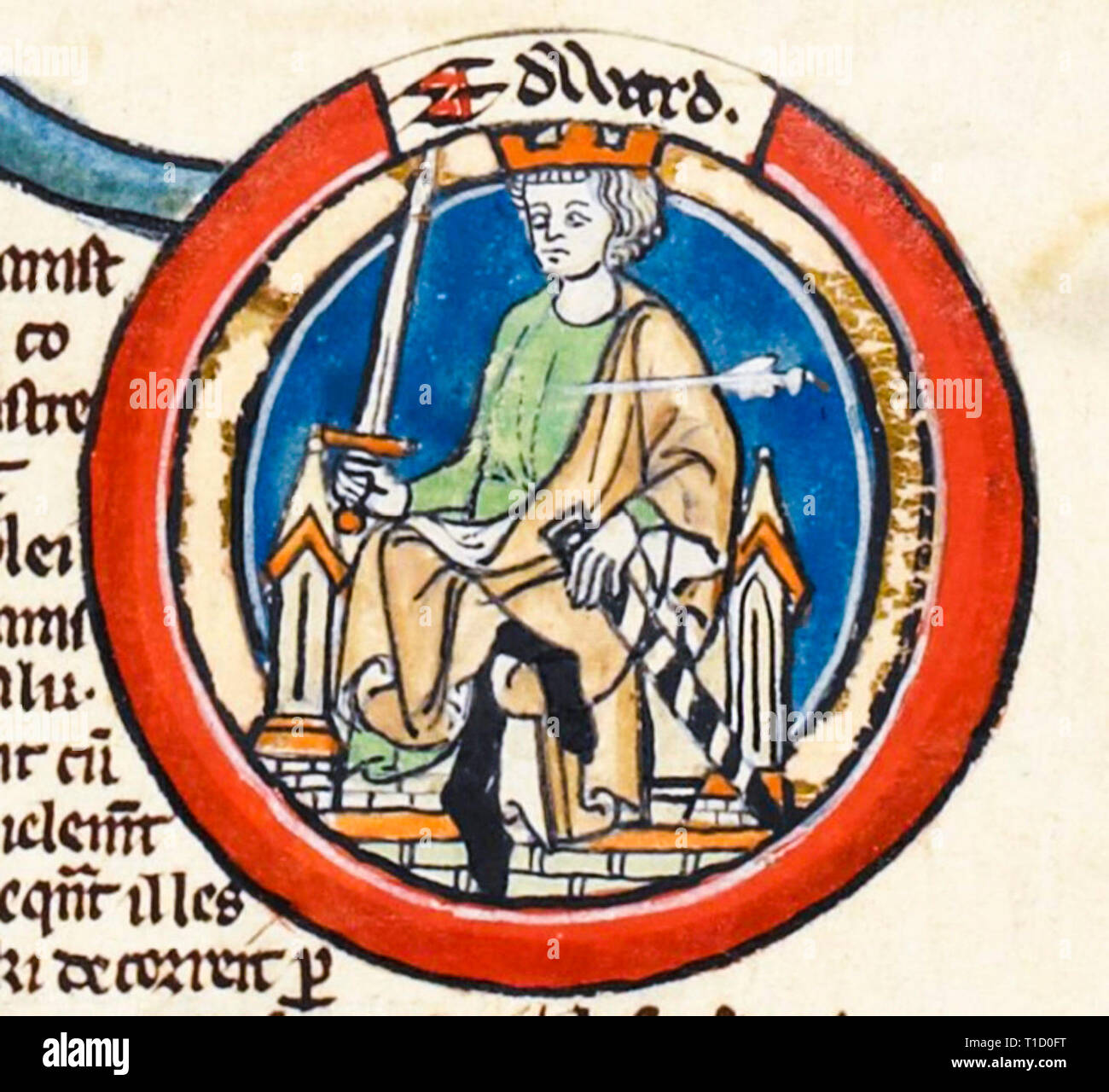 King Edward the Martyr (c. 962 - 978), portrait painting in the early 14th Century Genealogical Roll of the Kings of England - Stock Image