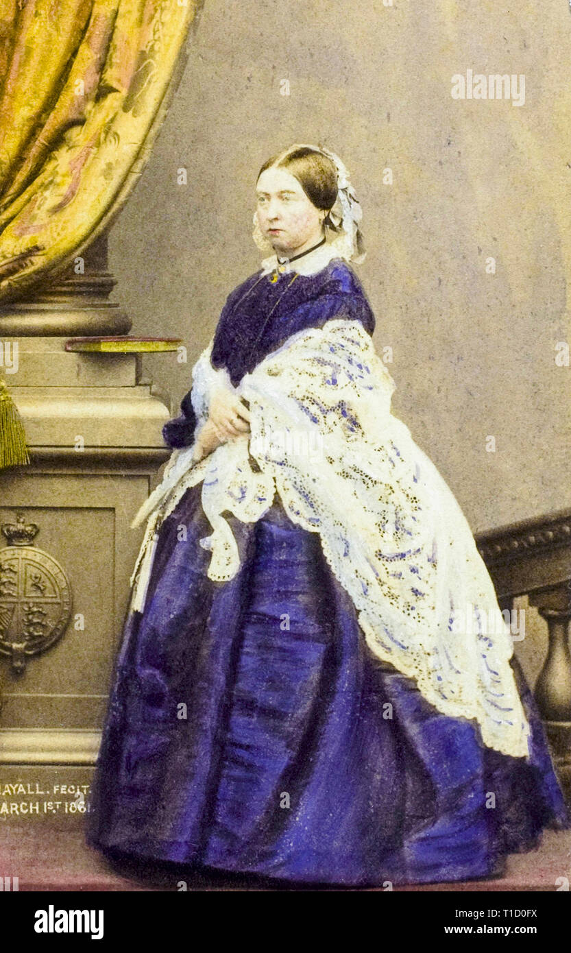 Queen Victoria, hand coloured portrait photograph by John Jabez Edwin Mayall, 1861 - Stock Image