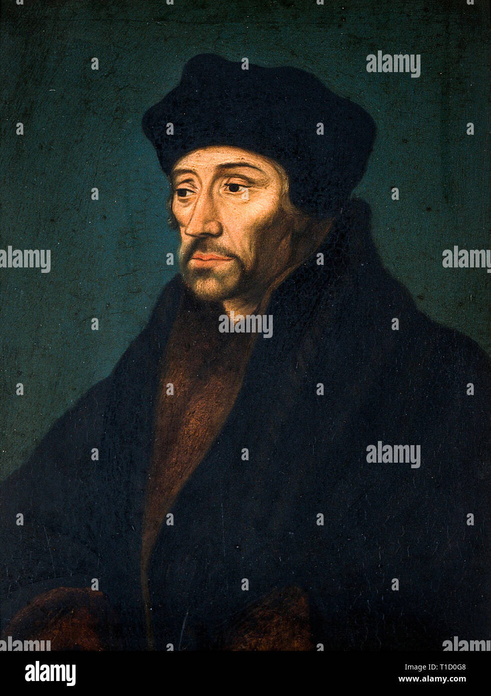 Desiderius Erasmus, portrait painting, c. 16th Century, artist unknown - Stock Image