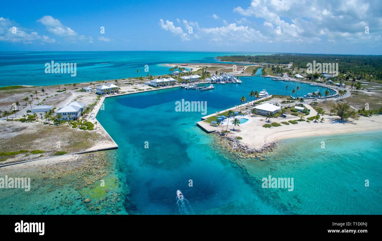 Aerial view, Marina of Cape Eleuthera island, Bahamas - Stock Image