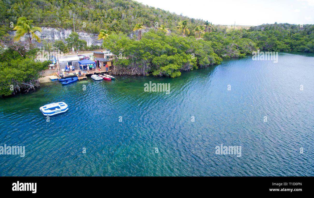 Turtle lake, Marine reserve, saltwater lake, Eleuthera island, Bahamas, Atlantic ocean, Caribbean - Stock Image