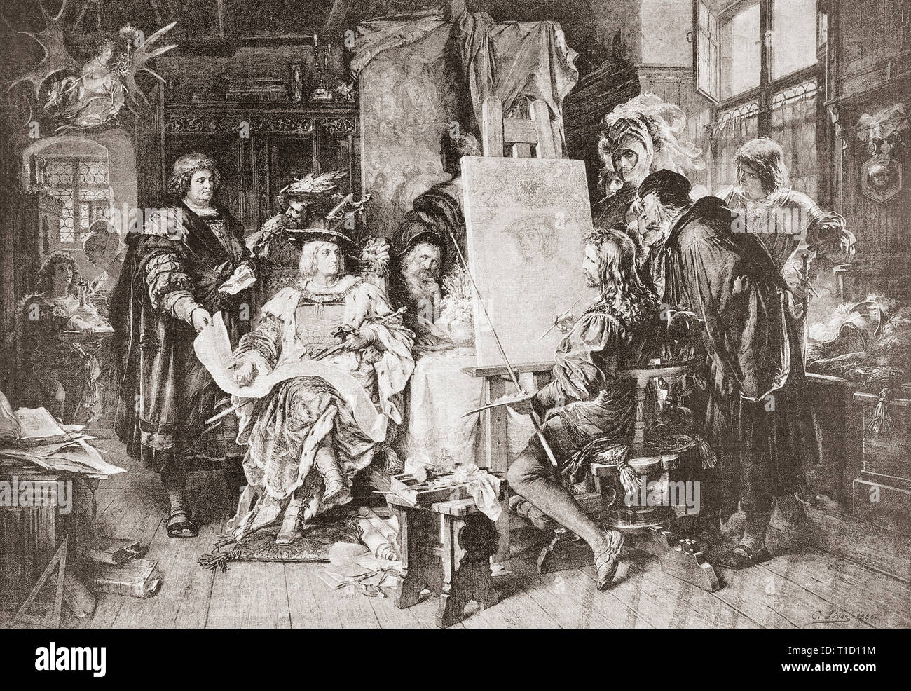 Albrecht Durer painting the portrait of the emperor Maximilian I.  Albrecht Durer, 1471 –1528.  Painter, printmaker, and theorist of the German Renaissance.  Maximilian I, 1459 – 1519.  Holy Roman Emperor.  From Ilustracion Artistica, published 1887. - Stock Image