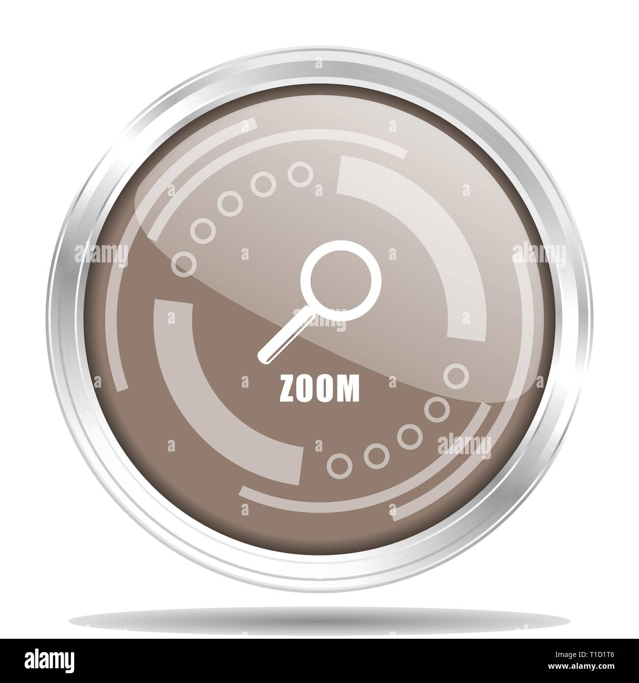 Zoom silver metallic chrome border round web icon, vector illustration for webdesign and mobile applications isolated on white background - Stock Image