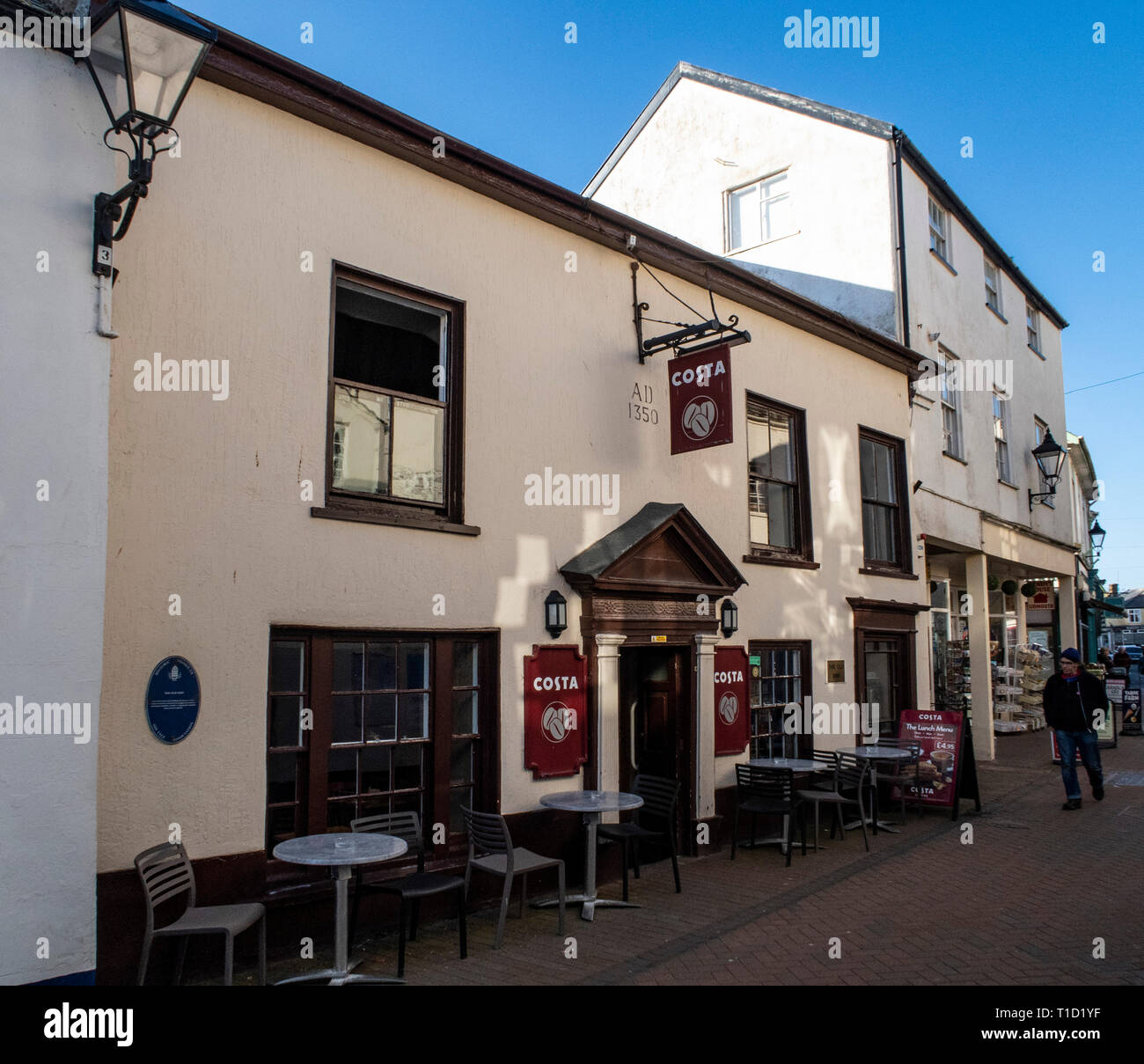 Costa coffee premises on Old Fore Street, Sidmouth, in the premises of the Old Ship Inn, in part dating to 1350 ad. Stock Photo