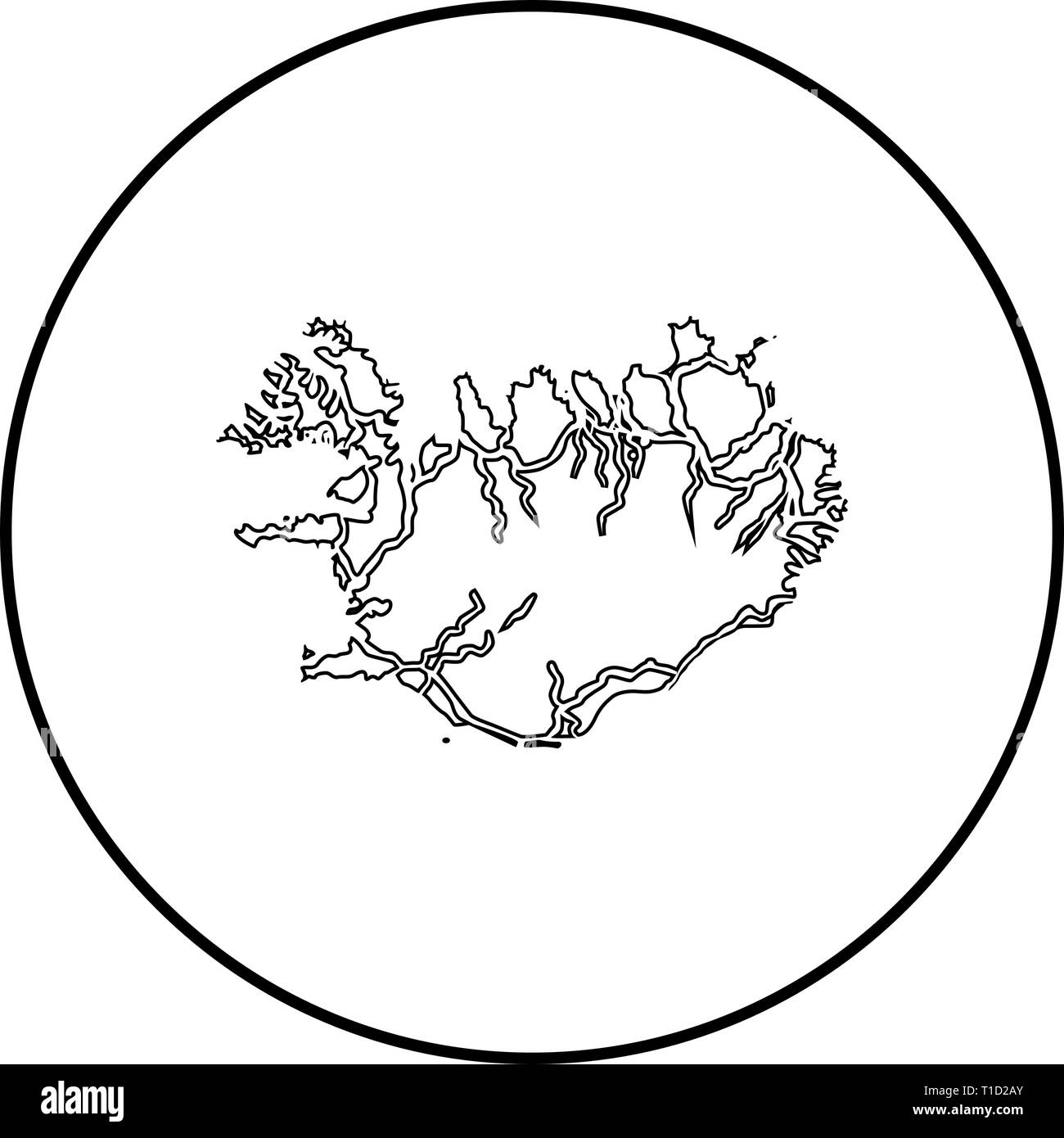 Map of Iceland icon outline black color vector in circle round illustration flat style simple image - Stock Vector