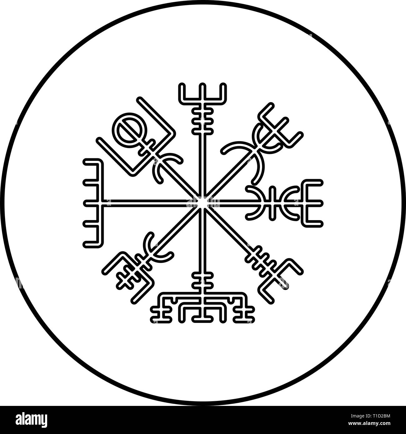Vegvisir runic compass galdrastav Navigation compass symbol icon outline black color vector in circle round illustration flat style simple image - Stock Image