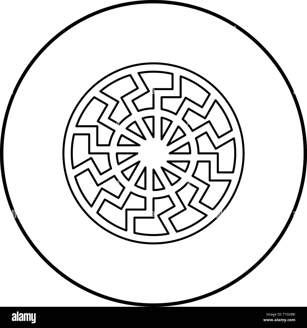 Black sun symbol icon outline black color vector in circle round illustration flat style simple image - Stock Image