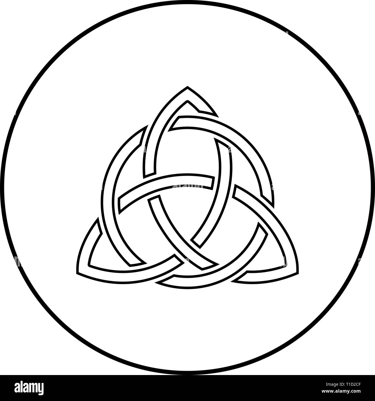 Triquetra in circle Trikvetr knot shape Trinity knot icon outline black color vector in circle round illustration flat style simple image - Stock Image