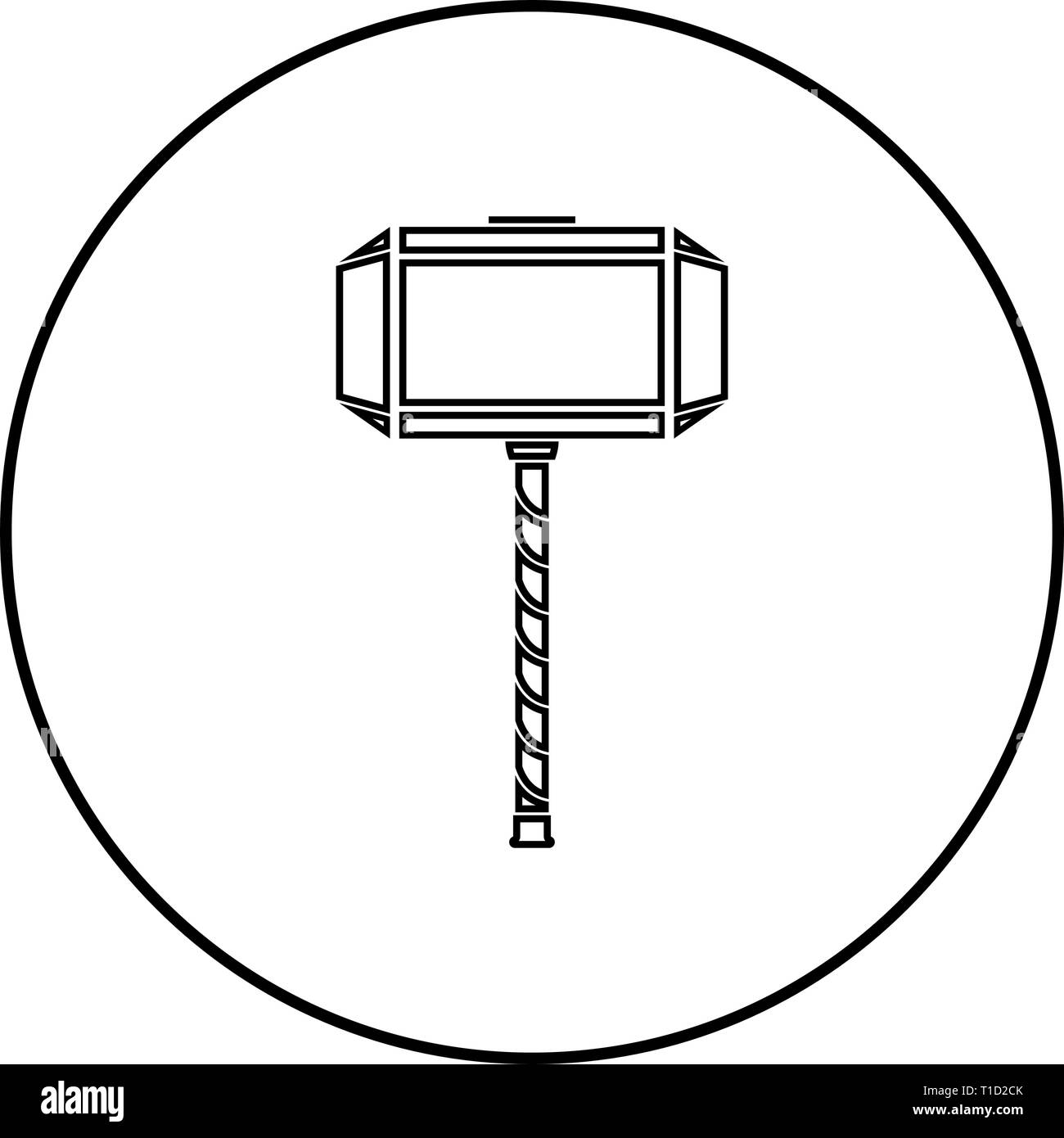 Thor's hammer Mjolnir icon outline black color vector in circle round illustration flat style simple image - Stock Image