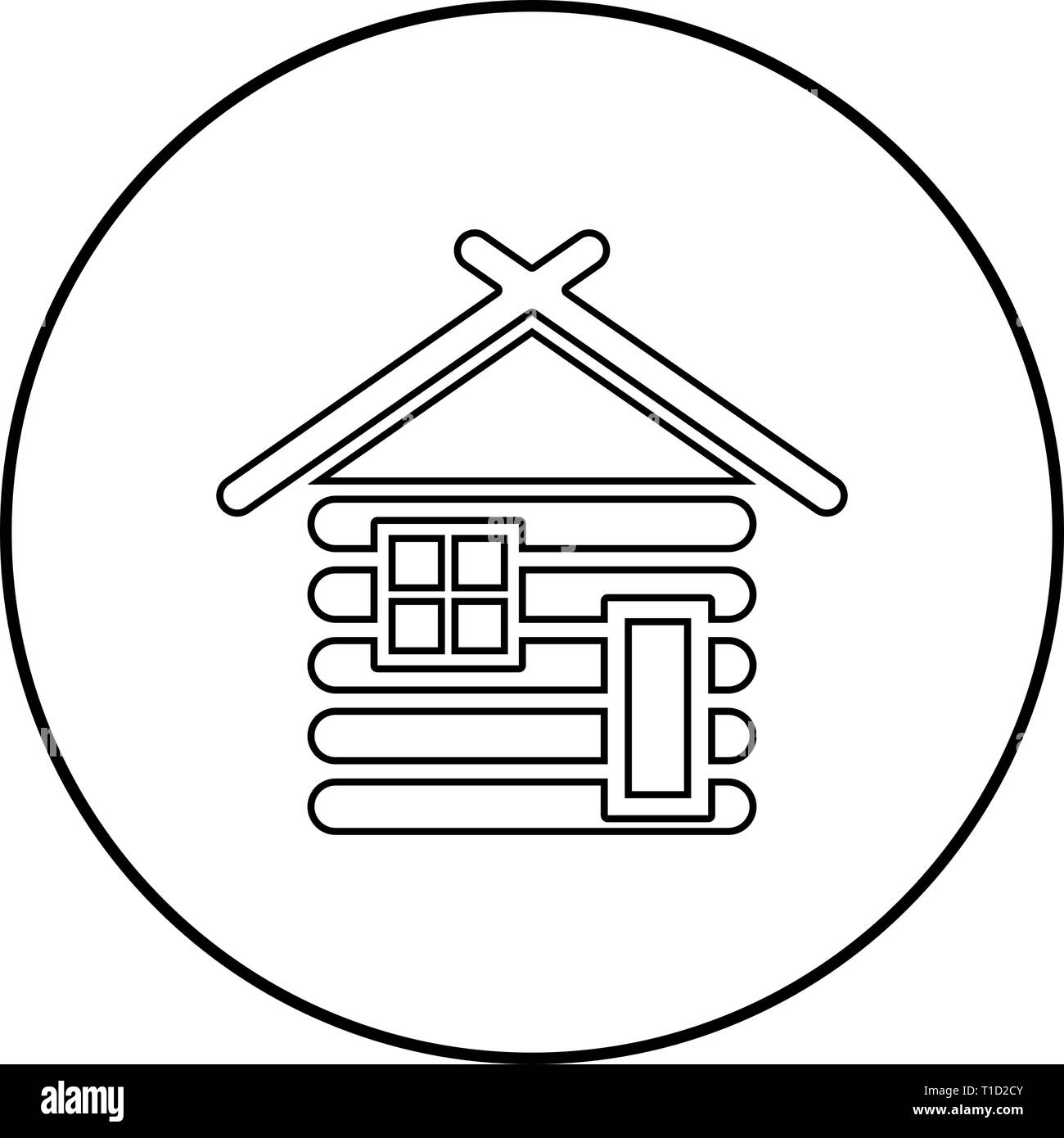 Wooden house Barn with wood Modular log cabins Wood cabin modular homes icon outline black color vector in circle round illustration flat style - Stock Vector