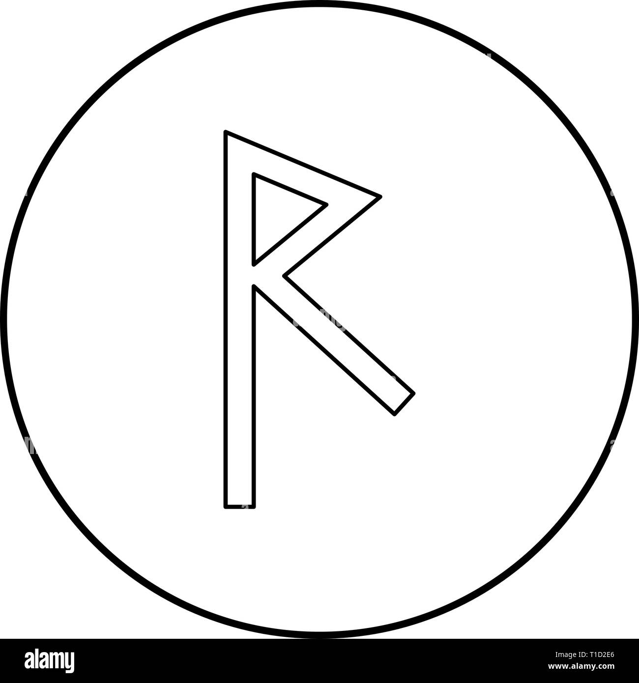 Raido rune raid symbol road icon outline black color vector in circle round illustration flat style simple image - Stock Vector