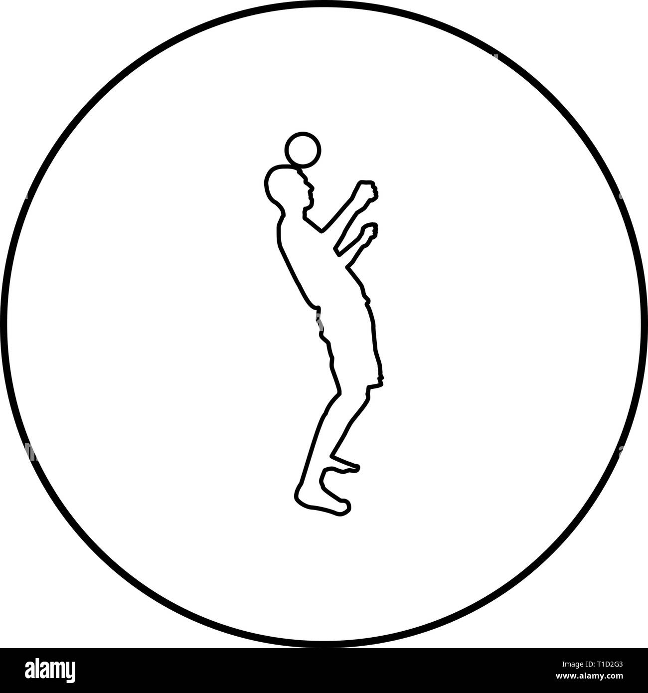Man kicks the ball on head. Soccer player taps ball with his head Football concept Juggling trick with ball icon outline black color vector in circle Stock Vector