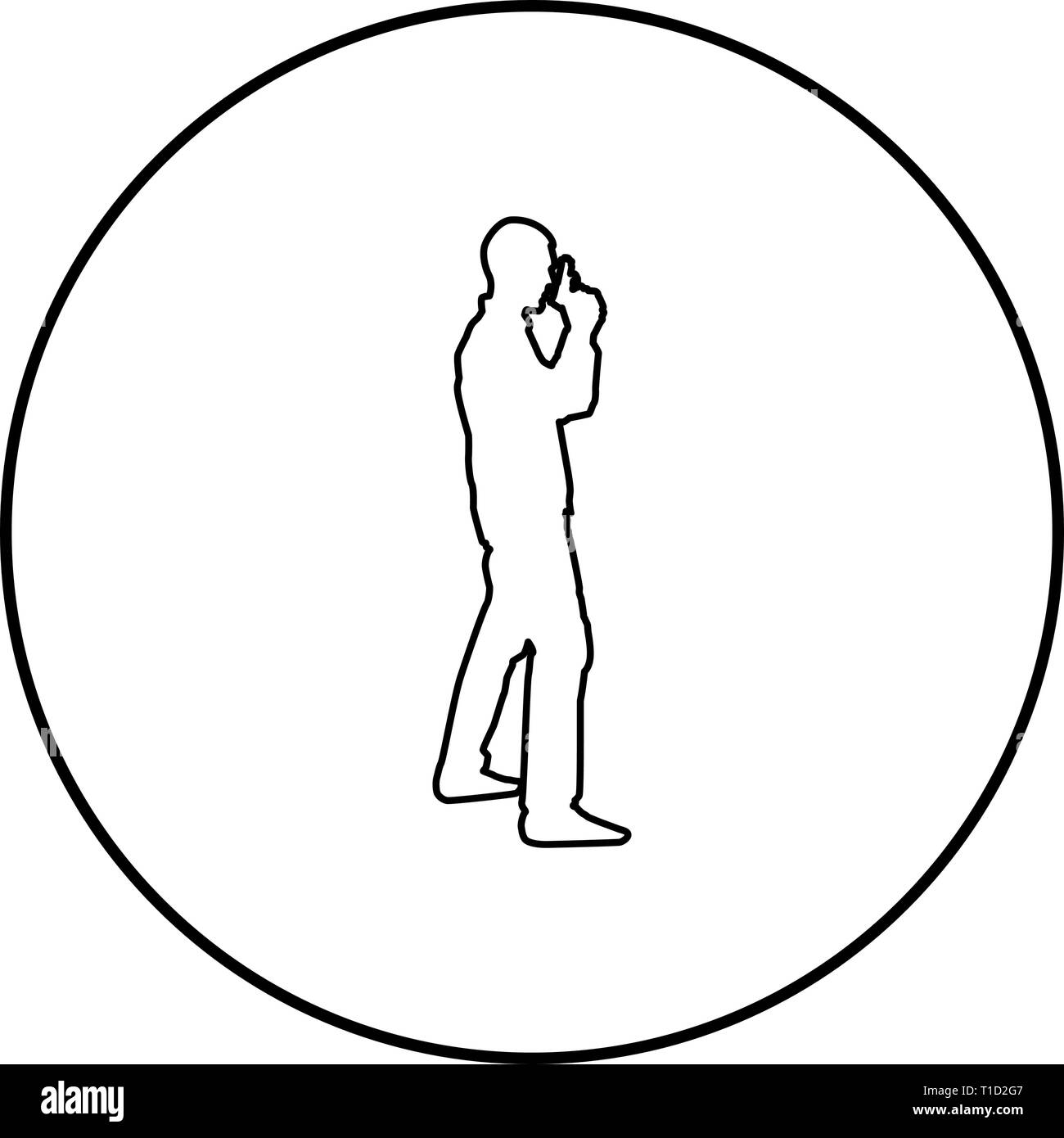 Man with gun Hazard concept icon outline black color vector in circle round illustration flat style simple image Stock Vector