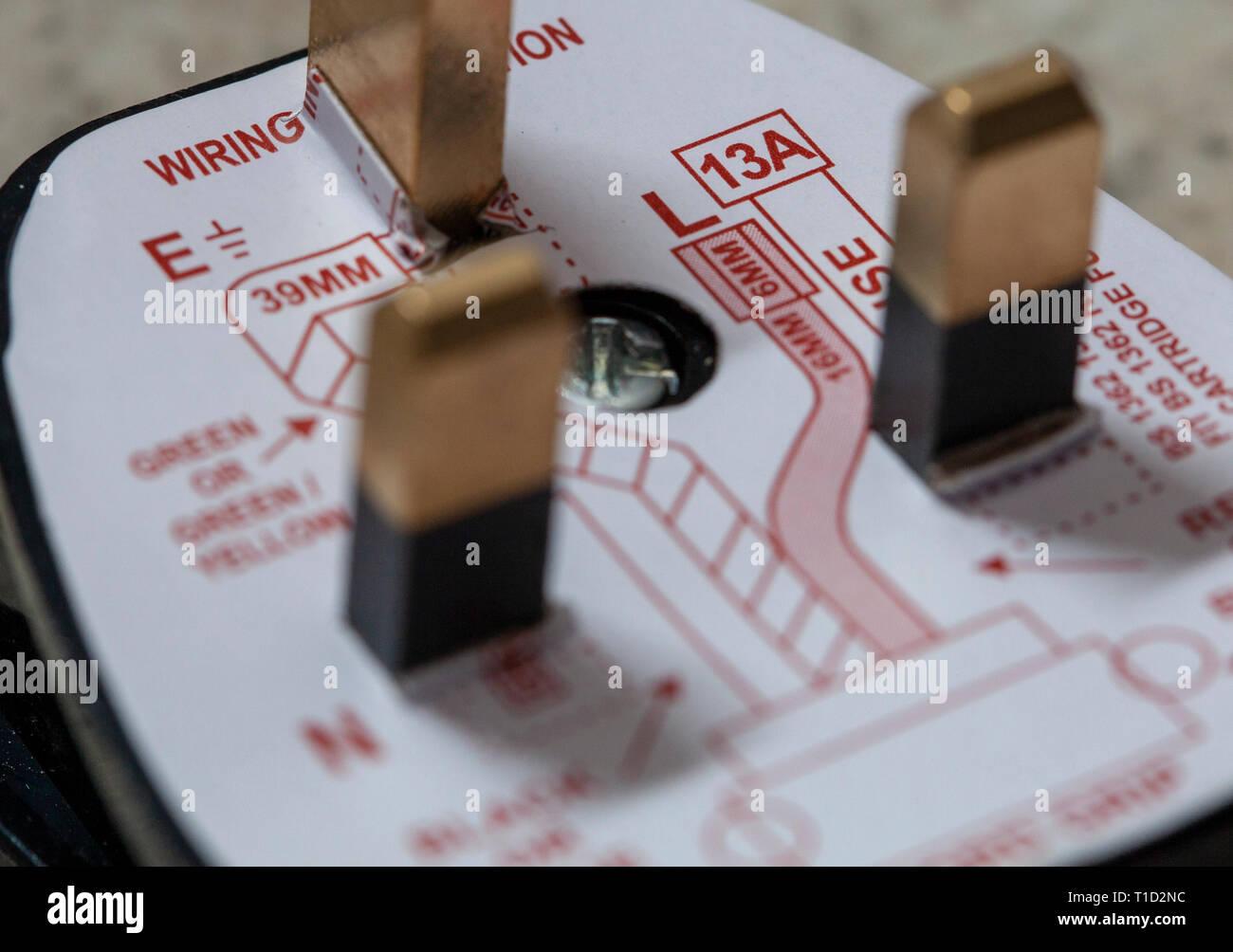UK plug connection diagram Stock Photo