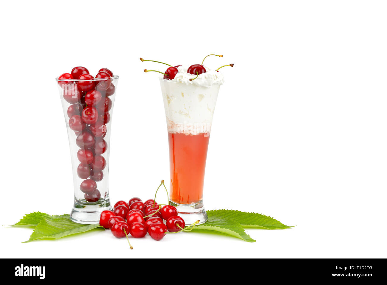 Fresh berries of cherries and smoothies isolated on white background. Free space for text. - Stock Image