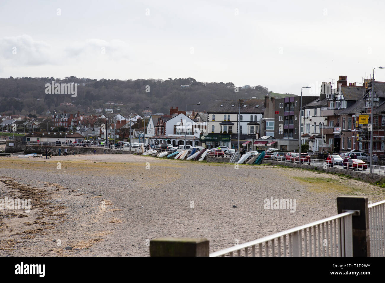 Shops and promenade at Rhos on Sea, North Wales viewed from Rhos point. Stock Photo