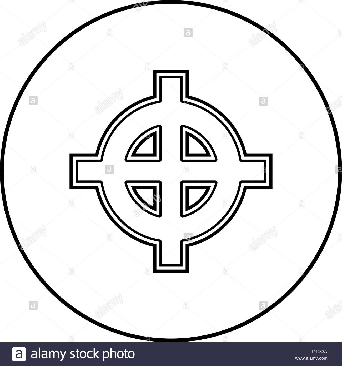 Celtic cross white superiority icon outline black color