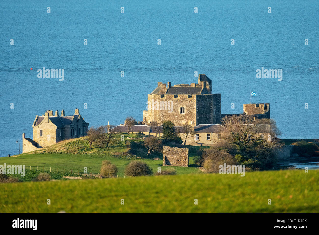Blackness Castle on the shore of the Firth of Forth near Linlithgow. It has been used as a film location and most recently in the Outlander tv series. Stock Photo