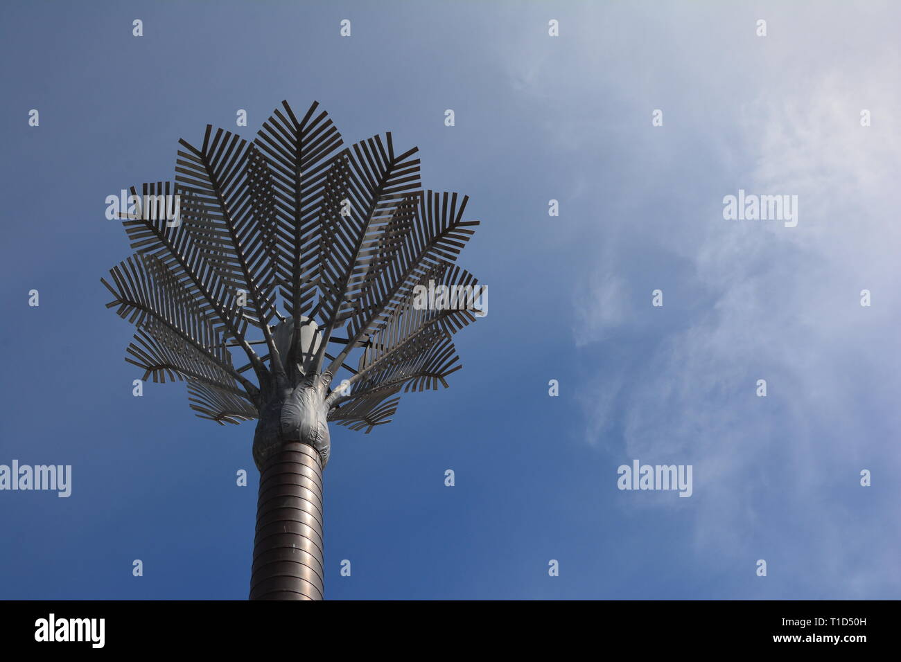 Stylised Nikau Palm Trees designed by architect Ian Athfield made from copper, zinc, and steel. Civic Square, Wellington, New Zealand - Stock Image