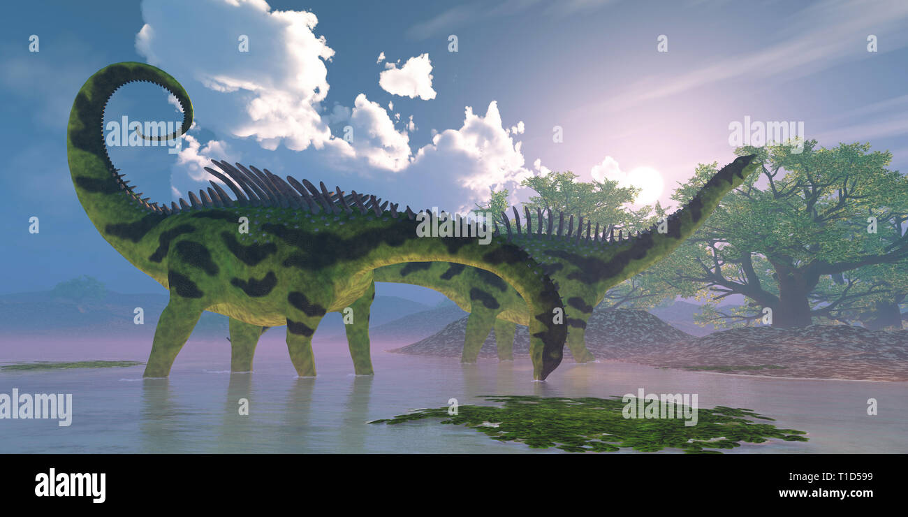 Agustinia dinosaurs wade in a wetland swamp full of Banyan trees during the Cretaceous Period. - Stock Image