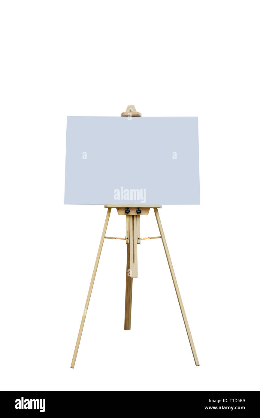 Wooden easel with blank plastic board for write text and draw picture, isolated on white background - Stock Image
