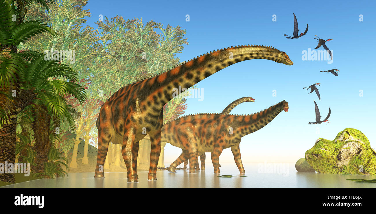 Spinophorosaurus Dinosaur Marsh - Dorygnathus reptile birds fly close to a Spinophorosaurus dinosaur herd during the Jurassic Period. - Stock Image