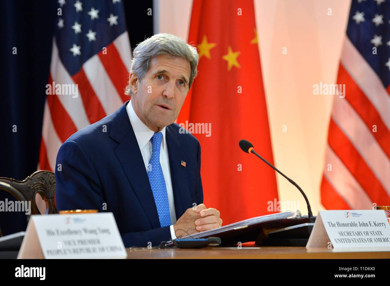 U.S. Secretary of State John Kerry delivers remarks at the U.S.-China Strategic and Economic Dialogue (S&ED) / Consultation on People-to-People Exchan - Stock Image