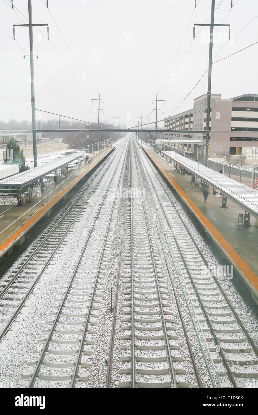 Hamilton Township New Jersey February 11, 2019: Train Arrives During