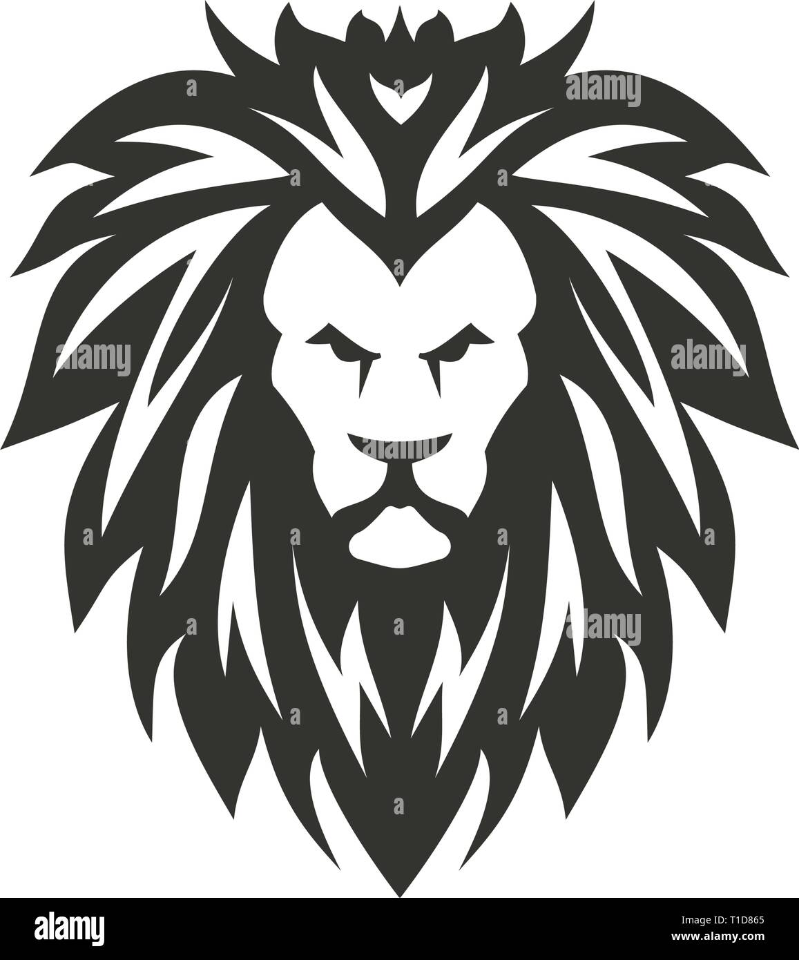 Vector black lion symbol on white background. - Stock Vector