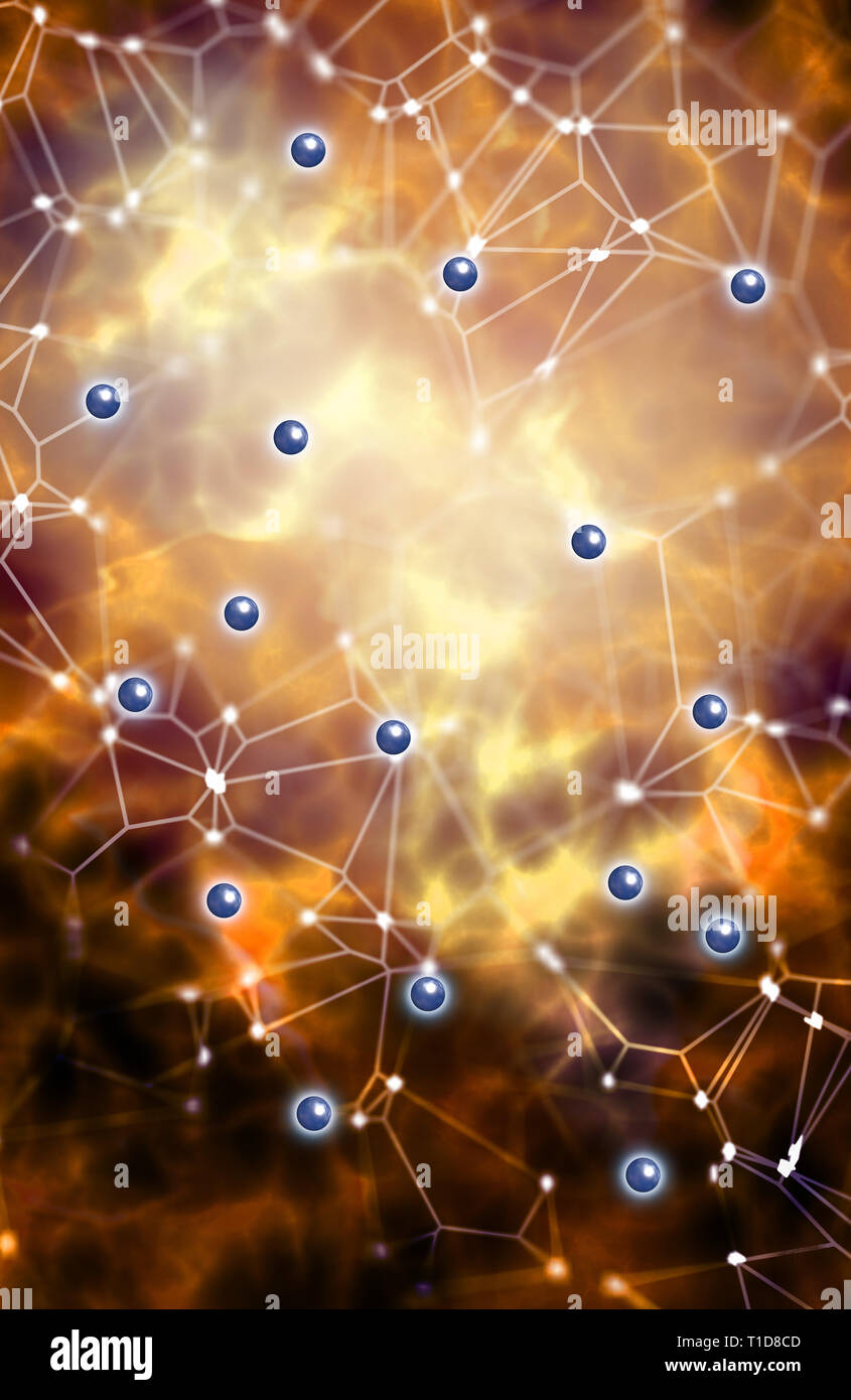 illustration for quantum physics with subatomic particles - Stock Image