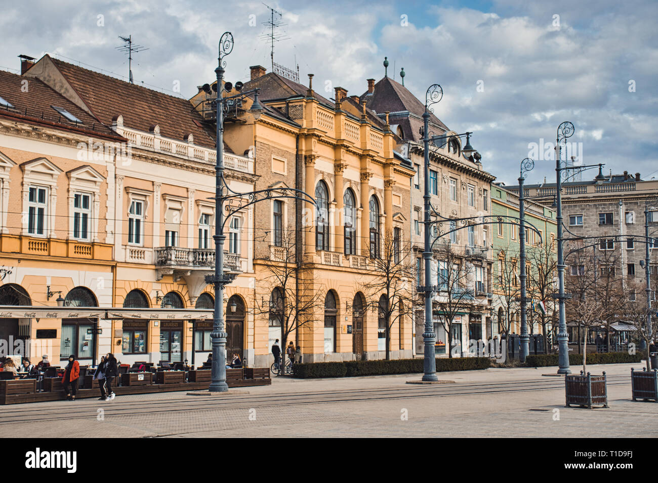 A picture of one side of the main square in Debrecen, Hungary. Including the pastor's office belongin to the Great Church. - Stock Image