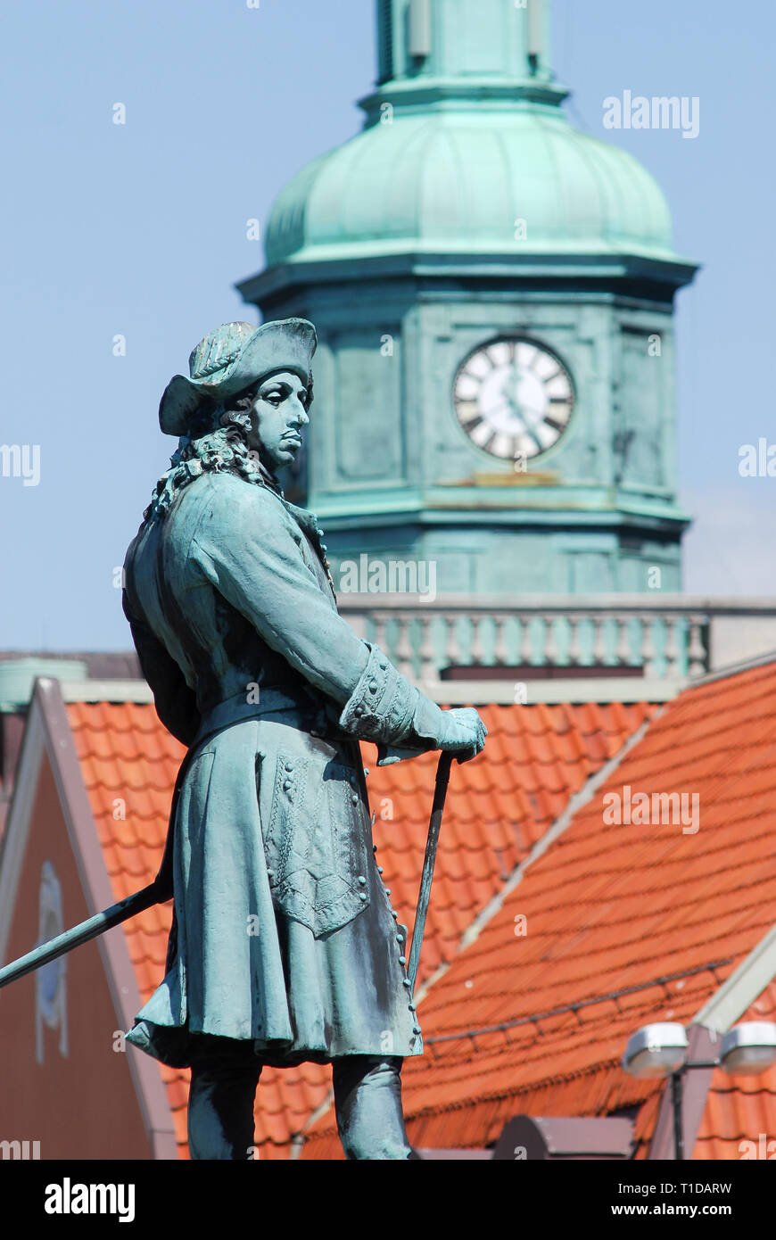 King Karl XI of Sweden statue (founder of city) on Stortorget on Trosso island listed World Heritage by UNESCO in Karlskrona, Blekinge, Sweden. May 23 - Stock Image