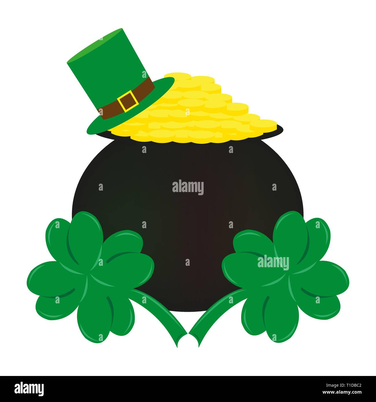 f4ddeb4f4 Coins and clover the symbol of St. Patrick's Day vector illustration - Stock  Image