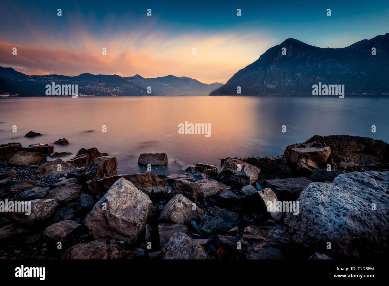 beautiful calm water lake landscape - Stock Image