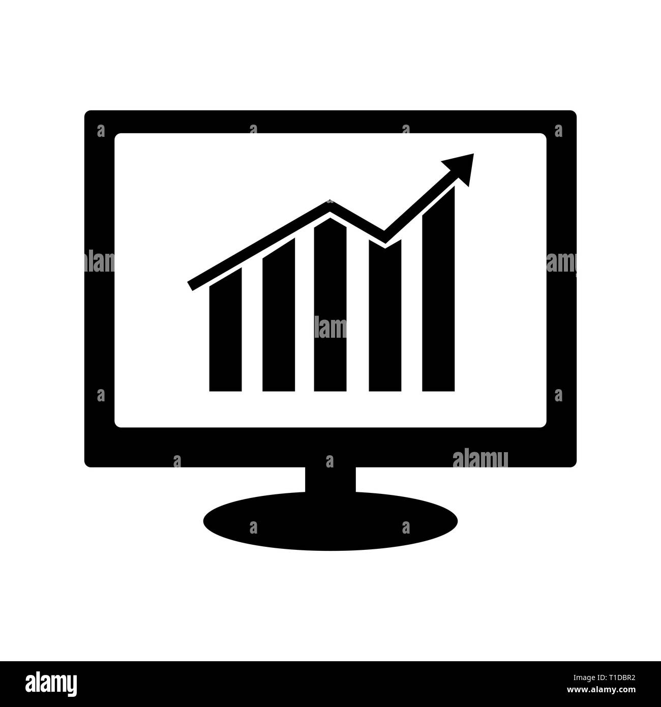 Growth bar chart icon on computer monitor - Stock Image