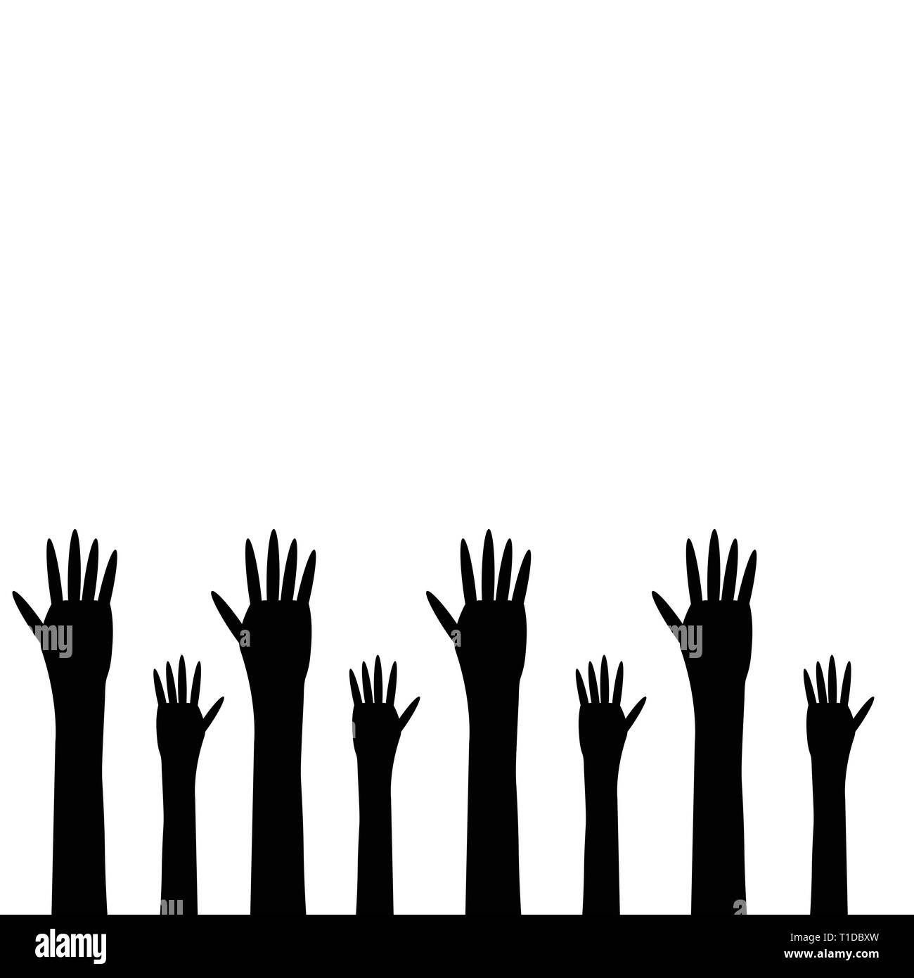 black hands on a white background - Stock Image
