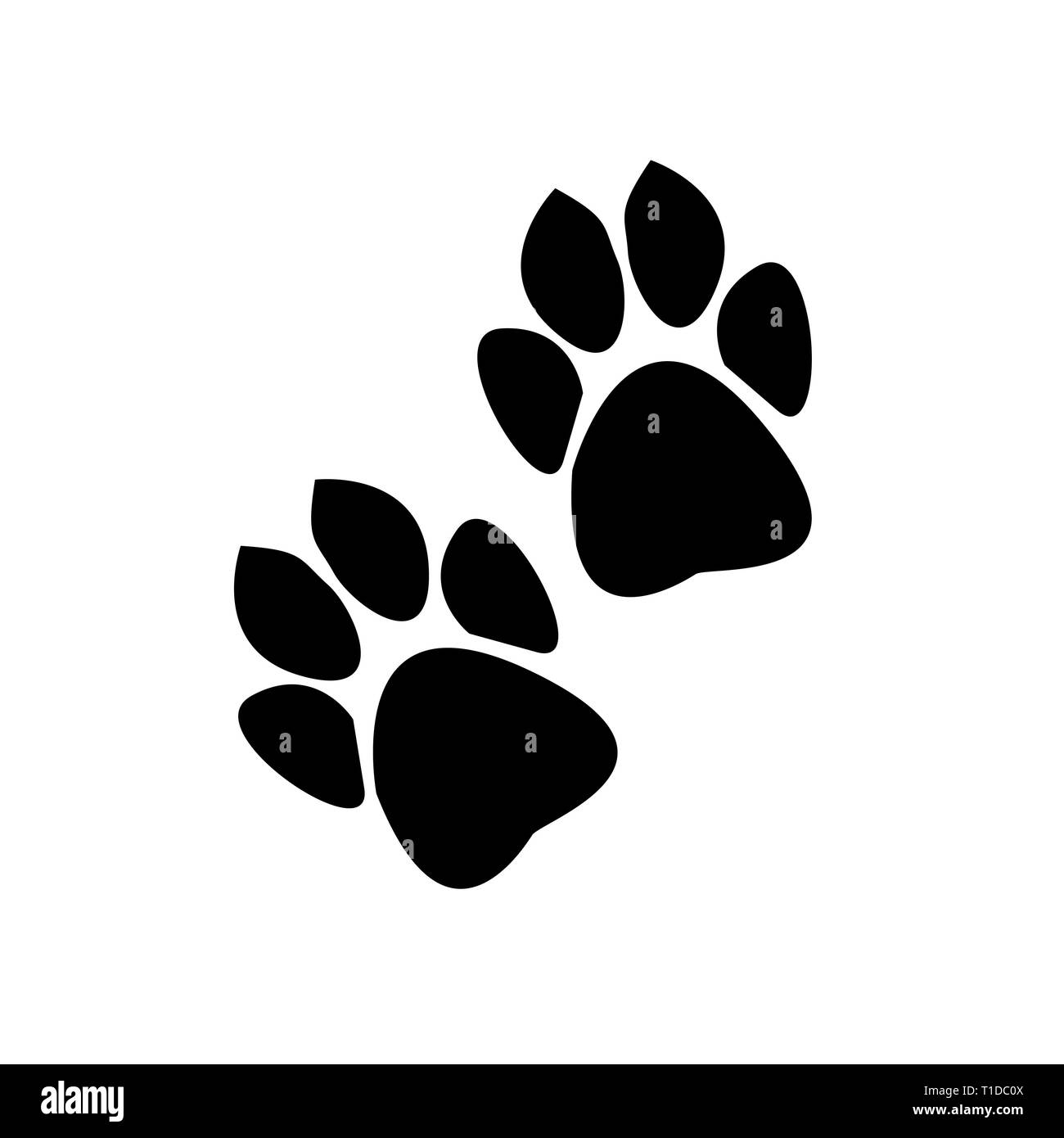 traces of animals on a white background - Stock Image
